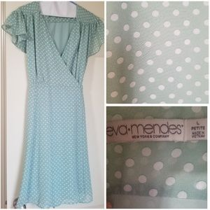 Eva Mendes wrap dress mint green polka dot